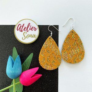 Lacy Tear Drop Earrings - Tan